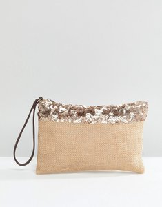 Read more about South beach jute clutch with metallic trim and zip - natural
