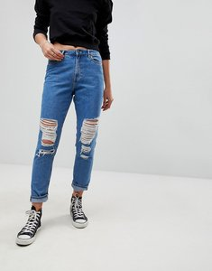 Read more about Only destroyed mom jeans - medium blue denim