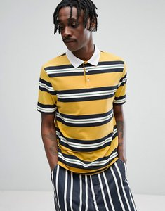 Read more about Asos relaxed rugby polo shirt in yellow retro stripe - yellow