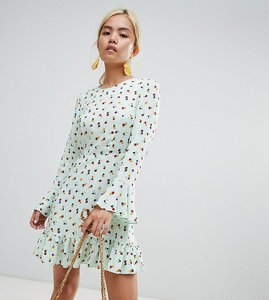 Read more about Asos design petite fluted mini dress with long sleeves and pep hem in ditsy floral - multi