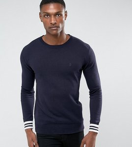 Read more about French connection tall crew neck knitted jumper with contrast cuff - navy