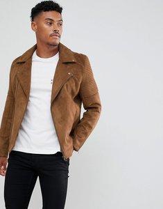 Read more about Asos design faux suede biker jacket in tan - tan