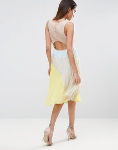 Read more about Asos cut out back colourblock pleated midi dress - multi