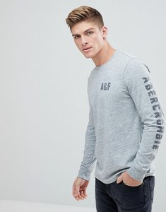 Read more about Abercrombie fitch long sleeve legacy top front and sleeve flock print in grey - grey