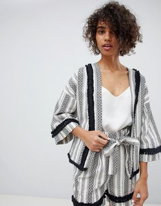 Read more about Neon rose jacket with kimono sleeves in woven stripe co-ord - multi