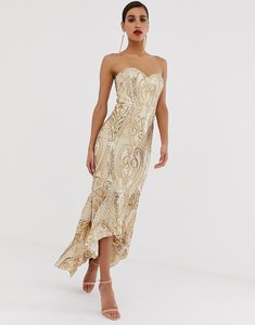 Read more about Bariano embellished patterned sequin sweetheart maxi dress dress in gold