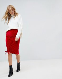 Read more about Miss selfridge ruched velvet midi skirt - red