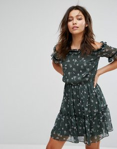 Read more about Miss selfridge floral bardot frill dress - multi