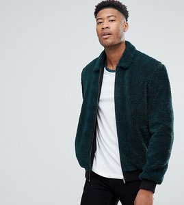 Read more about Asos tall borg bomber jacket in bottle green - green