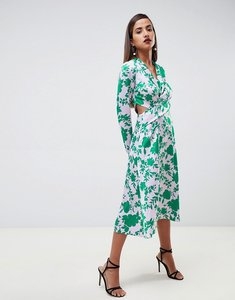 Read more about Asos design collar midi tea dress with long sleeves in floral - multi
