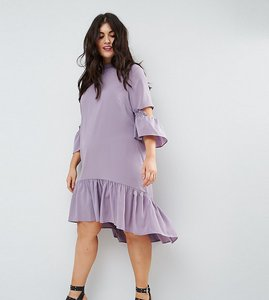 Read more about Asos curve tea dress with ruffle - lilac