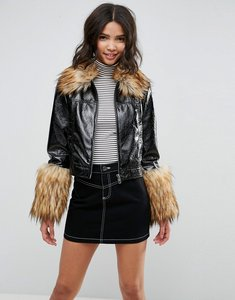 Read more about Asos leather look vinyl jacket with faux fur trim - black