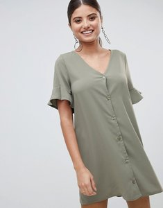 Read more about Prettylittlething button front ruffle sleeve shift dress - khaki