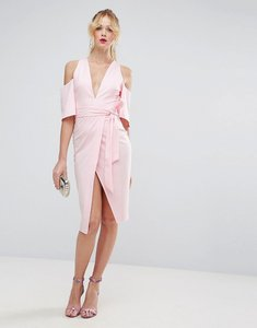 Read more about Asos cold shoulder kimono tie pencil dress - pale pink