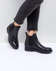 Read more about Dune london quark black leather studded chelsea boots - black leather