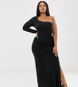 Read more about Club l london plus one shoulder thigh split maxi dress in black