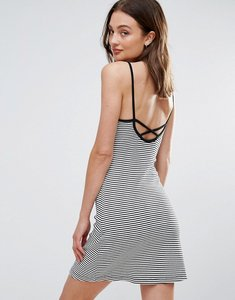 Read more about Brave soul strappy dress in stripe with cross back - black white