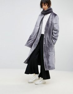 Read more about House of sunny padded longline coat in velvet with detachable scarf - grey