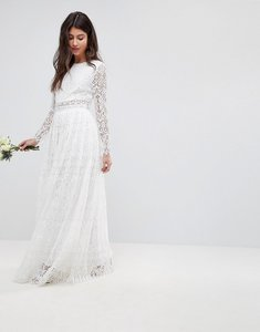 Read more about Asos edition lace long sleeve crop top maxi wedding dress - white