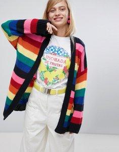 Read more about Asos design oversized cardigan in rainbow stripe - multi