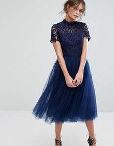 Read more about Chi chi london high neck lace midi dress with tulle skirt - navy