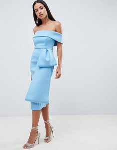 Read more about Asos design scuba extreme bow front midi dress - blue