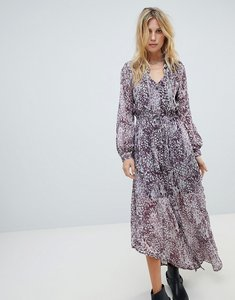 Read more about Religion button up maxi dress in grunge leopard - blackberry wine