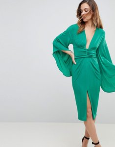 Read more about Asos deep plunge slinky kimono midi dress - green