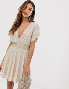 Read more about Asos design mini skater dress in linear beading and sequin