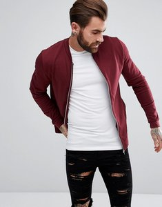 Read more about Asos jersey bomber jacket in red - harvest
