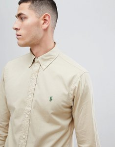 Read more about Polo ralph lauren slim fit garment dyed shirt polo player in beige - sand dune