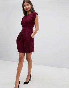 Read more about Closet london pleat waisted dress - wine