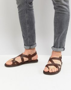 Read more about Zign leather sandals in brown with strap detail - brown