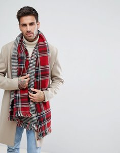 Read more about 7x reversible blanket scarf red check - blue