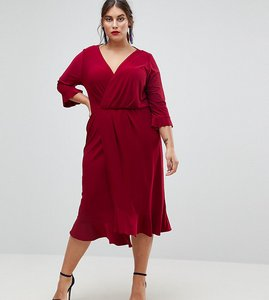 Read more about Asos curve wrap front midi dress with frill detail - blackcurrant