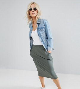 Read more about Asos petite jersey pencil skirt with pockets - khaki