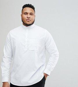Read more about Noak plus slim half placket grandad shirt - white