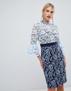 Read more about Paper dolls high neck 2 in 1 lace detail pencil dress in blue