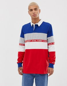 Read more about Tommy jeans colour block long sleeve rugby polo with chest taping in red white blue