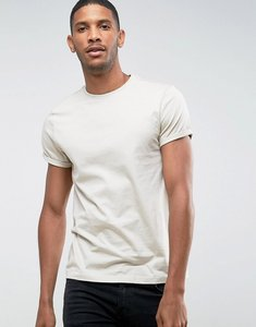 Read more about Asos t-shirt with crew neck and roll sleeve in beige - noodle