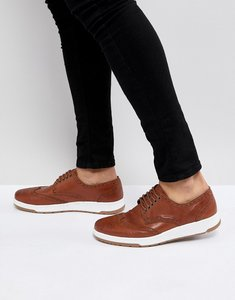 Read more about Asos casual brogue shoes in brown leather with ribbed sole - brown