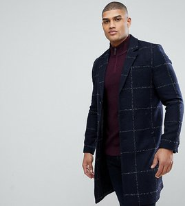 Read more about Asos tall checked wool mix overcoat in navy - navy