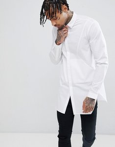 Read more about Asos design regular fit longline shirt with panels and side pockets - white