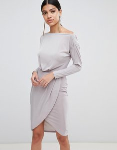 Read more about Ax paris long sleeve wrap front dress - silver