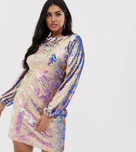 Read more about Club l london plus geo sequin long sleeve shift dress in iridescent gold
