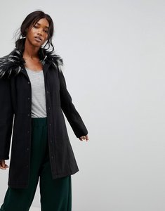 Read more about Brave soul davina coat with faux fur collar - black