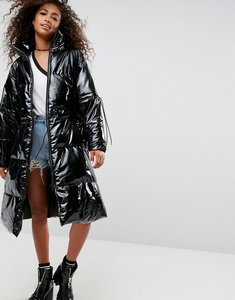 Read more about Asos oversized midi puffer coat in vinyl - black