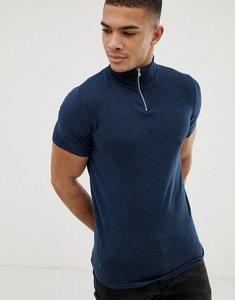 Read more about Asos design knitted muscle fit turtle neck t-shirt with zip in navy - navy