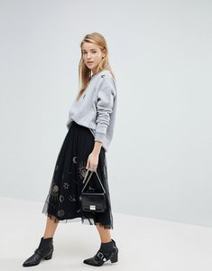Read more about Pimkie galaxy embellished mesh midi skirt - black