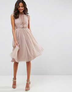 Read more about Asos lace tulle cap sleeve midi dress - mink